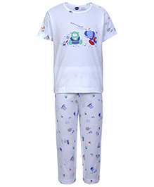 Teddy Short Sleeves Night Suit - Musical Band