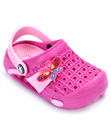 Cute Walk Clog With Back Strap - Butterfly Applique
