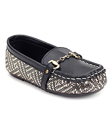 Ket Slip-On Loafer Shoes Black - Dotted Print