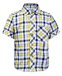 Babyhug Half Sleeves Shirt Yellow And White - Checks Print