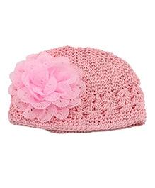 NeedyBee Crochet Cap Light Pink - Floral Applique