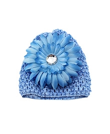 NeedyBee Crochet Beanie Cap With Flower - Blue