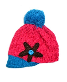 NeedyBee Handmade Starfish Beanie Ear Wool Cap - Pink And Blue