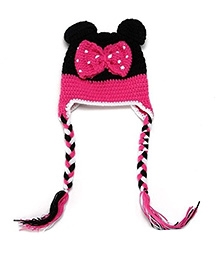 NeedyBee Handmade Minnie Themed Crochet Cap - Pink And Black
