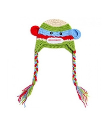 NeedyBee Handmade Monkey Themed Crochet Cap - Green And Blue