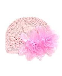 NeedyBee Crochet Flower Beanie Newborn Cap - Pink