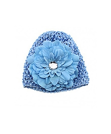NeedyBee Crochet Cap With Flower - Blue