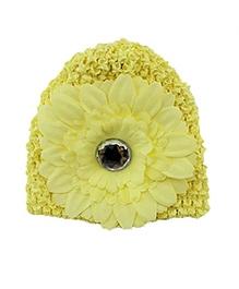 NeedyBee Crochet Newborn Cap With Flower - Yellow