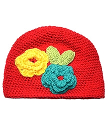 NeedyBee Cotton Crochet Cap With Crochet Flowers Decorated - Red