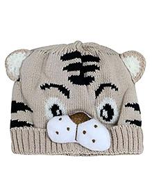 NeedyBee Tiger Design Winter Cap - Beige