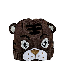 NeedyBee Tiger Design Winter Cap - Brown