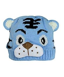 NeedyBee Tiger Design Winter Cap - Light Blue