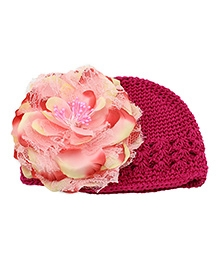 NeedyBee Crochet Cap With Flower - Fuchsia Pink