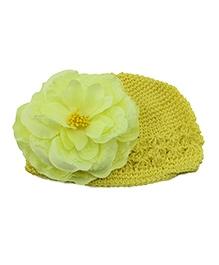 NeedyBee Crochet Cap With Flower - Yellow
