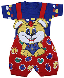 Babyhug Dungaree With Half Sleeves T-Shirt - Bunny Face Print