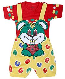 Babyhug Dungaree With Half Sleeves T-Shirt - Bunny Face Print