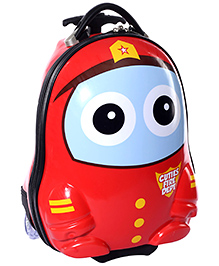Fab N Funky Trolley Bag Red And Yellow Cutie Fire Dept Design - 18 Inches