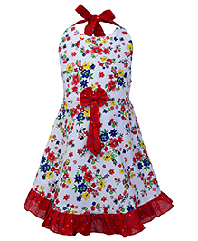Babyhug Halter Neck Frock Floral Print - White And Red