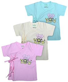 Babyhug Front Open Vests Set Of 3 - Blue Pink And Yellow