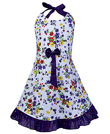 Babyhug Halter Neck Frock Floral Print - White And Purple