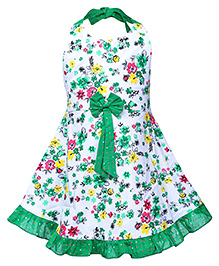 Babyhug Halter Neck Frock Floral Print - White And Green