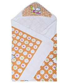 Babyhug Baby Towel Orange - Floral Print