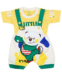 Babyhug Dungaree And T-Shirt Set - Teddy Bear Design