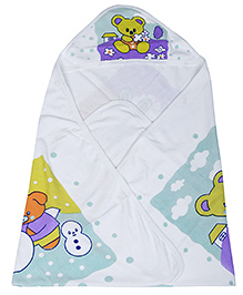 Babyhug Hooded Towel - Teddy Print