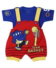 Babyhug Dungaree With T-Shirt - Team Basket Print