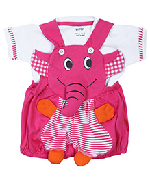 WOW Dungaree With Half Sleeves T-Shirt Pink And White - Elephant Applique