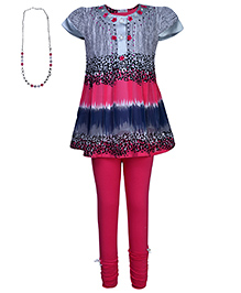 Rosy Bow Top And Legging With Neckpiece - Grey And Pink