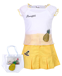 Rosy Bow Top And Skirt With Hand Bag Yellow - Pineapple Print