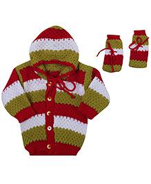 Babyhug Hooded Sweater And Booties Set - Multicolour