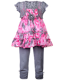 Rosy Bow Frock Style Top With Legging And Shrug - Grey - 4 To 5 Years