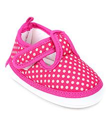 Littles Musical Baby Booties Dark Pink - White Polka Dots