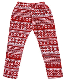 Earth Conscious Leggings Abstract Print - Red