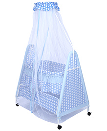 Fab N Funky Polka Dot Printed Baby Cradle with Mosquito Net - Blue