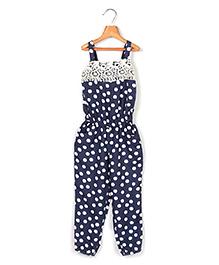 Beebay Laced Yoke Jumpsuit Polka Dot Print - Navy Blue