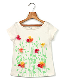 Beebay Short Sleeves Top Floral Applique - Off White