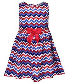Beebay Sleeveless Zig Zag Print Bow Dress - Multicolour