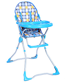 Fab N Funky High Chair Blue - Checks Print