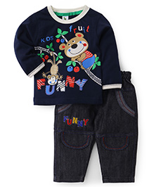 Cucumber Full Sleeves T-Shirt And Jeans Set Navy Blue - Fruit Print - 0 To 3 Months