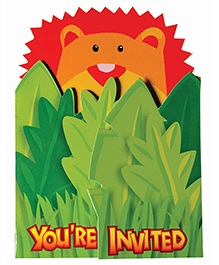 Party In A Box Amscan Jungle Animal Novelty Invitation Card - Pack of 8