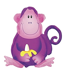 Party In A Box Anagram Jungle Party Monkey Super Shape Balloon - purple