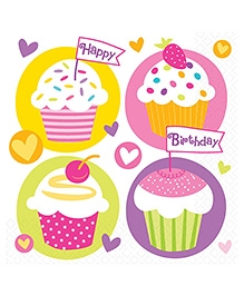 Party In A Box Amscan Cupcake Party Lunch Napkin - Pack of 16