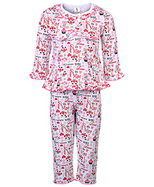 Cucumber Full Sleeves Night Suit - Multi Print