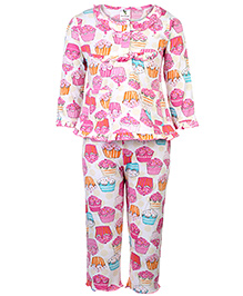 Cucumber Full Sleeves Night Suit - Cupcake Print