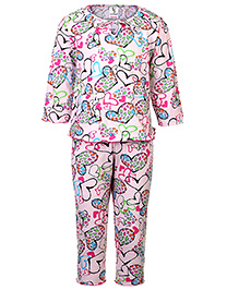 Cucumber Full Sleeves Top And Leggings Night Suit - Hearts Print