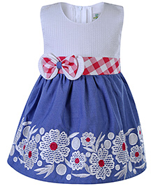 Babyhug Sleeveless Frock Floral Embroidery - Blue And Red