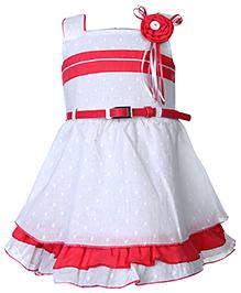 Babyhug Sleeveless Frock With Waist Belt - White And Pink